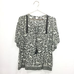 Old Navy Large Shirt Boho Black Floral